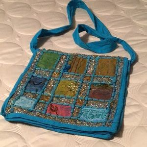 Handbags - Cotton embellished hobo purse made in India.